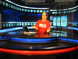 In a television studio in Turkey, 2009